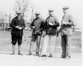 Left to right: Sec. of the Interior John Barton Payne, Moreven(?) Thompson of Washington, D.C., Sec. of the Treasury David F. Houston, ex-Senator Willard Saulsbury, photographed at the Chevy Chase Club. Photo from Library of Congress (LC-USZ62-101983)