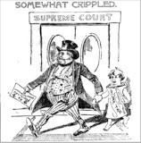 Cartoon commenting on the first of two Supreme Court decisions striking down the 1894 income tax law, 1895.