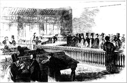 Drawing of taxpayers lining up at a collector's office to pay the 1862 income tax.